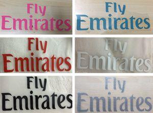 FLY EMIRATES marquage à chaud logos de sponsors avant autocollants roses impression brassards badges de football brassard imprimé blanc patchs de football impressionnés