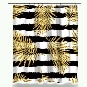 New Design Miracille Modern Glitter Gold Leaves Pineapple Print Shower Curtains Polyester Waterproof Cat Flamingo Style Bathroom Curtain