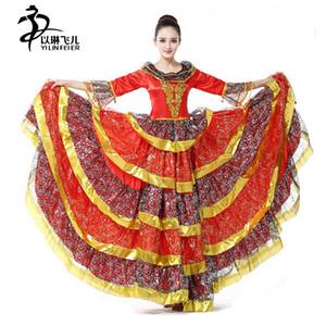 FLAMENCO DANCE VESTIDO PARA GRIL / ESPANHOL FLAMENCO SKIRT Fare Manga Meninas Vestido Ruffled Traje De Dança Espanhola para as mulheres