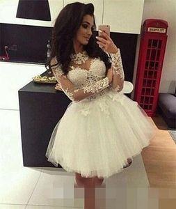 2019 vestido de baile branco homecoming vestidos de manga longa applique lace 8th grade vestidos de baile simples junior vestido de vestir