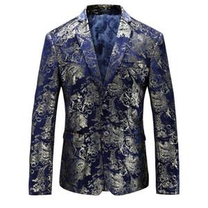 Blazer da uomo floreale Blazer Hombre Gold Fit Slim Fit Giacche di vino blu con stampa oro Costumi teatrali per cantanti Over Size 5XL