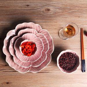 5 unids / set Platos de placa de pétalo de flor rosa Plato bandeja de ensalada de bandeja de comida japonesa de estilo japonés bandeja establece platos de comida