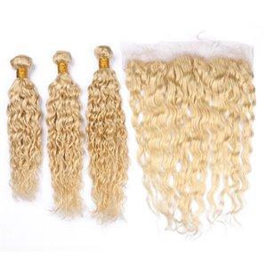 Onda de água Virgem Brasileira Loira Tramas de cabelo humano com Frontal Molhado e Ondulado # 613 Loira 13x4 Fechamento Frontal de Renda Cheia com 3 Pacotes