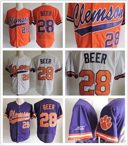 2017 chegam novas Homens Clemson Tigres # 28 Seth Cerveja Laranja Branco Roxo de beisebol Costurado Colégio Jerseys