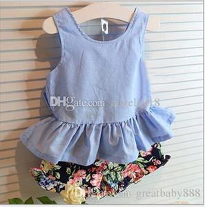 Nouveau bébé filles tenues Retour Bow gilet robes + Shorts Floral 2pcs / set été enfants vêtements d'été bébé vêtements DHL C1071