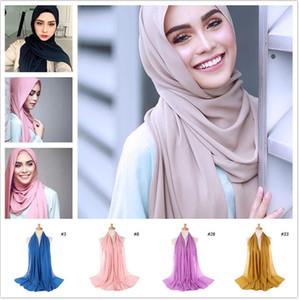 여성 일반 거품 시폰 스카프 hijab 포장 printe 단색 shawls 머리띠 이슬람 hijabs 스카프 / 스카프 47 색상