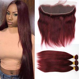 # 99J 와인 레드 3Bundles Peruvian Hair with 1Pc Lace 정면 13x4 프리 파트 실키 스트레이트 부르고뉴 전체 인 레이스 정면 폐쇄