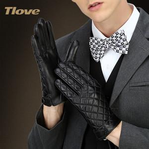 TLOVE зима перчатки мужские из натуральной кожи полный ладонь сенсорный экран перчатки, высокое качество кожи овец кожаный, бизнес Style6608