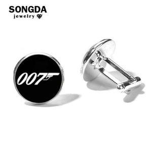 سونجدا جيمس بوند 007 أزرار أكمام للرجال العلامة التجارية الكلاسيكية أسود أبيض 007 نمط زجاج قبة قميص مزاج أزرار أكمام أزرار