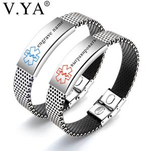 V. Ya Punk Stainless Steel Sign Men's Bracelets Fashion DIY Custom Gravhe Chain joalharia Braceletes De Silicone Para Presentes de homem