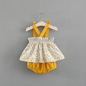 Vestiti delle neonate 2018 Vestiti stampati delle ragazze di estate Vestiti delle ragazze + biancheria intima con i bambini dell'arco Big Set 1-3T rosa