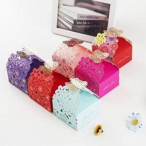 100 قطع الليزر قطع علب حلوى زهرة نمط فراشة مشبك الزفاف الإحسان عيد الميلاد حزب هدية مربع 5 نمط