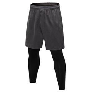 Hommes Casual Sports 2 en 1 faux deux pièces Pantalons courts Pantalons Leggings pour Fitness Course à DK7721KSG Yoga