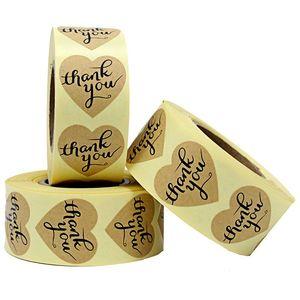 Heart-Shaped Danke Aufkleber Craft Papier danken Ihnen beschriften, Selbstklebeetiketten, Dekorative Sealing Aufkleber 10 Rolls 2.5cm / 0.98in
