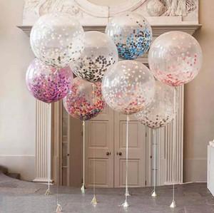36 Polegada Rodada Rose Gold Confetti Balões babyshower Champagne Balão De Látex Decoração Da Festa de Casamento de Hélio ballon