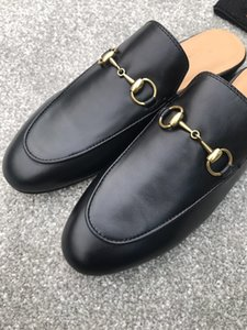 2019 Quality Women Princetown Stamp Leather Print Slipper Shoes,Leather Sole,Horsebit detail,Size 35-40,Free Shipping