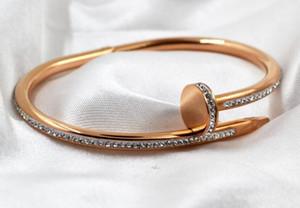Nueva clavo de la arcilla del par brazalete de diamantes rosa, brazalete de oro europea y versión americana de calidad brazalete de acero de titanio
