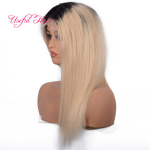 pelucas de Cabello humano Cheveux blonds Lace Front Wigs 1BT613 droite PERRUQUES Ombre Blonde Lace Front Wigs Lace Front Cheveux perruque courte