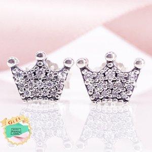 Enchanted Crowns Stud Pendientes Auténtico S925 Plata de ley Claro CZ Joyería Fina Mujeres Pendiente 297127CZEarring