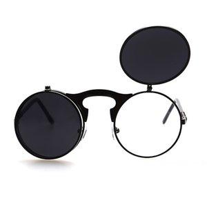 Flip Up Steampunk gafas de sol Hombres Ronda Vintage Mens Sunglass Brand Designer Fashion Glasses
