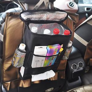 28 * 22 * 10 cm Siyah Oto Araba Soğutucu Çanta Koltuk Geri Çanta Battaniye Kumaş Çok Cep Saklama Çantası Seyahat Alet Klozet Organizatör Çanta WX9-701