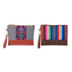 DOMIL Leopard Stripes Clutch Wholesale Blanks Black Stripes Aztec Wristlet Handbag Diamond Pouch Bridesmaid Gift DOM1061168