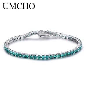 UMCHO Luxury Emerald Bracelet For Women 925 Sterling Silver Jewelry Personalized Birthstone Romantic Wedding Gemstone JewelryY1882701