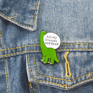 Lonely dinosaur enamel pin Cartoon animal badge brooch Green Lapel pin for Denim Jeans shirt bag Funny jewelry Gift for friend