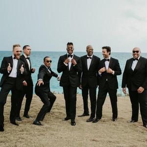 2018 Düğün Damat Smokin (Ceket + Pantolon) Erkekler Düğün Bestmen Siyah Erkekler Için Özel Yapılmış Resmi Takım Elbise Suits