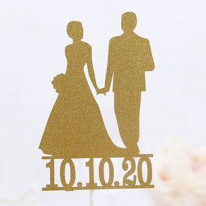 Cake Topper Novia Novio Wedding Cupcakes flags For Decor Mariage Mr Mrs Cake Toppers Fiesta Nupcial Ducha Personalizar la fecha