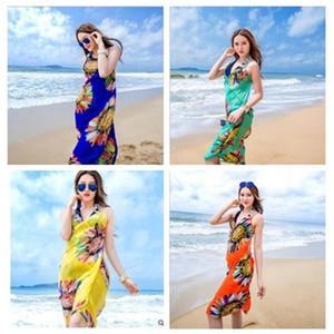 Kadınlar Çiçek Bikini Kapak Ups Baskı Seksi Pareo Plaj Elbise Bohemian Sarong Şifon Plaj Bikini Wrap Mayo Eşarp Şal Brace 6 renk