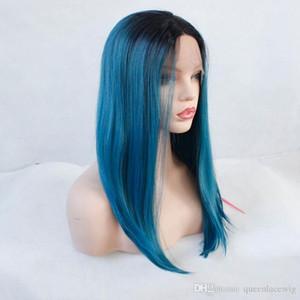 Parrucca Cosplay Moda Sexy Parrucca blu Ombre Parrucche sintetiche diritte in pizzo frontale per le donne Breve Bob Black To Blue Parrucche afroamericane