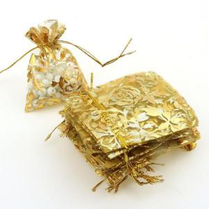 Rose Gold Bronzing Organza Schmuck Verpackung Geschenk Taschen Einzelhandel Verpackung Säcke Embalagens Para Doces 7x9 cm 100 teile / los Großhandel