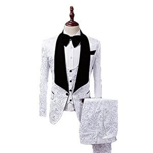 Personalizza Groomsmen Scialle Risvolto nero Smoking dello sposo Un bottone Abiti da uomo Matrimonio / Prom Best Blazer da uomo (Giacca + Pantaloni + Gilet + Cravatta)