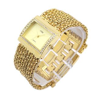 Kadın Bileklik Bileklik Bilek Saatler Vogue Zarif Kristal Gül Altın Paslanmaz Çelik Bağlantı Bandı Kadınlar için Saatler