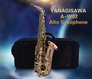 New A-W02 YANAGISAWA Gold Lacquer Gold Key Professional Saxophone Alto Sax Eb Tone with mouthpiece ,case,gloves