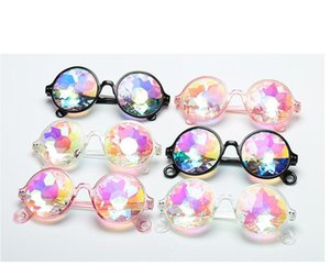 Rodada do caleidoscópio Óculos Rave Festival Homens Mulher Kids Marca Designer Holographic Cristal Party Club refrigeram óculos de sol retros