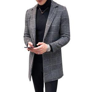 Alta calidad Moda a cuadros 50% Mezclas de lana Abrigo Slim Fit Long Peacoat Hombre de lana de invierno Trench Coat Plus Size L-4XL