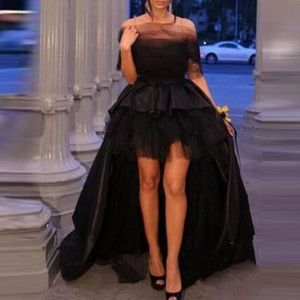 abendkleider Formal Gown Arabian Evening Dress Hi Low Black Custom Made vestidos largos Elegant Long Prom Gowns