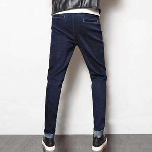LEFT ROM 2018 homens da moda cor Pura lazer O cowboy calças / High-grade masculino algodão Puro confortável Slim fit calças 28-38