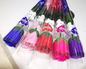 Моделирование цветок розы одиночные красные розы мультфильм медведь с наклейкой в форме сердца День Святого Валентина подарок День матери подарок свадьба Epacket бесплатно