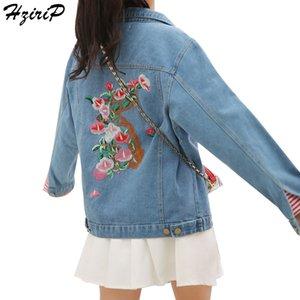 HziriP İşlemeli Denim Ceket Temel Kadınlar Coats Jeans Çiçek ceketler giyim Uzun Kollu 2017 Sonbahar Giysiler Casaco Feminino