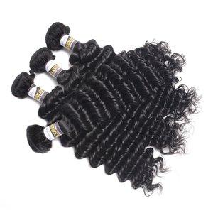 """10a tiefe Welle Haarpflegeprodukte indische tiefe Welle 100% Menschenhaar bündelt 8 """"-28"""" natürliche Farbe 3PC Remy Haar-freies Verschiffen"""