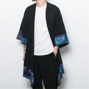 2018 Hommes Coton Lin Cardigan Manteau Trench Veste Mâle Lâche Châle Long Kimono Windbreaker Outwear