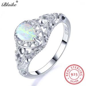 Blaike 100% Real 925 Sterling Silver Blanco Ópalo de Fuego Anillos Para Las Mujeres de La Vendimia Hollow Water Drop Birthstone Ring Fine Jewelry regalo