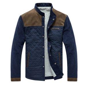 Ailegogo Autumn Winter Patchwork Jacket Coat Men Casual Long Sleeve Zipper Pocket Outwear Business Slim Fit Windbreak Coats