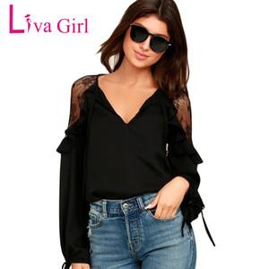 Liva Girl Damen Oberteile und Blusen Plus Size Kleidung Langarm Rüschen Schulter Chiffon Spitzenbluse Femme Blusas Femininas