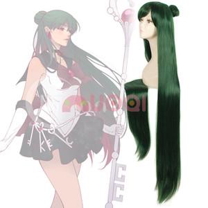 ePacket free shipping >Sailor Moon Pluto Meiou Setsuna Dark Green Hair Long Straight Cosplay Full Wig
