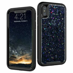 3 in 1 For iPhone X Bling Glitter Shinny Shockproof Cell Phone Case Cover For Samsung S9 Plus