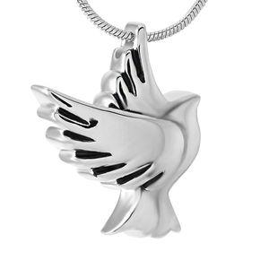 Ala de la paloma de la vendimia collar IJD9496 animal doméstico encantador del colgante de la paloma de la paz del pájaro Cremación Cremación de animales urna para cenizas colgante de joyería